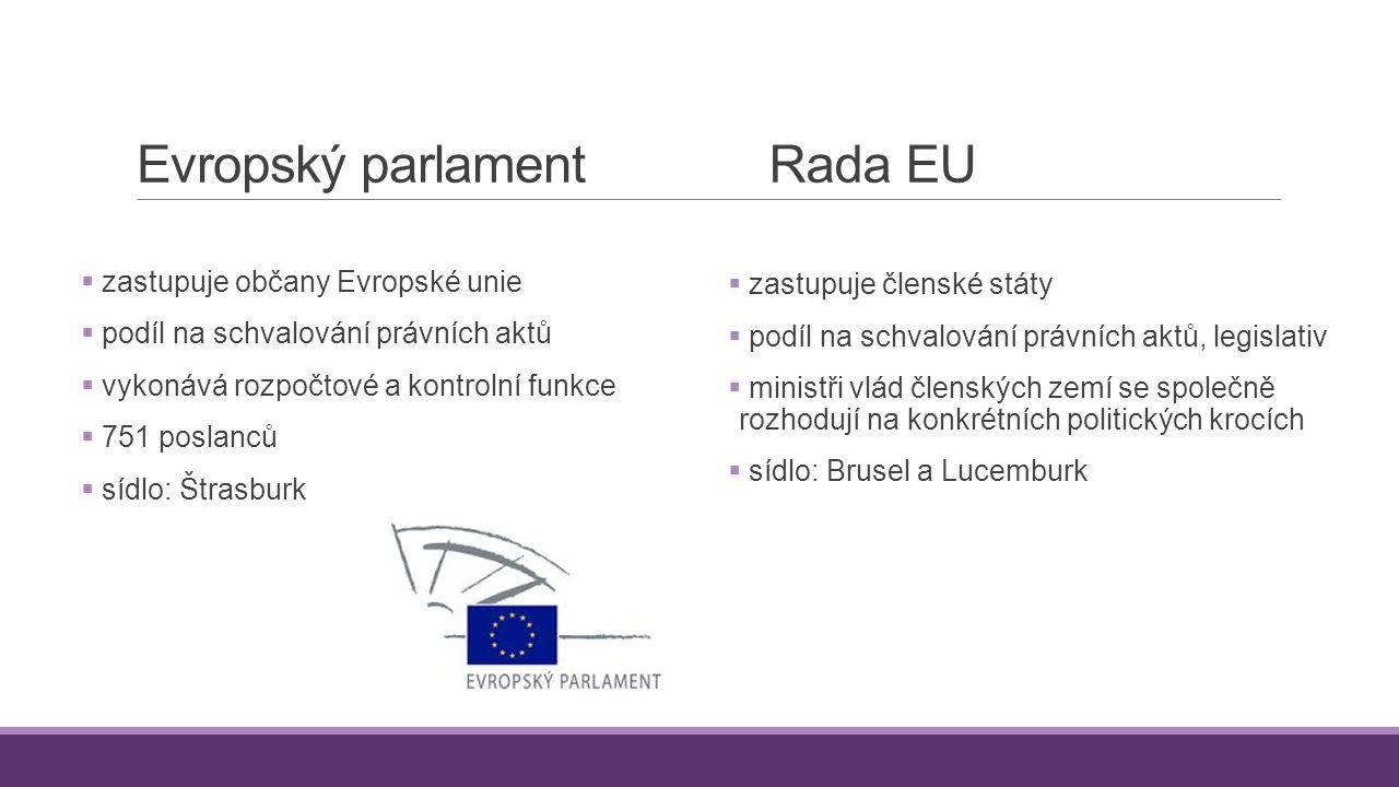 Evropský parlament  zastupuje občany Evropské unie  podíl na schvalování právních aktů  vykonává rozpočtové a kontrolní funkce  751 poslanců  síd