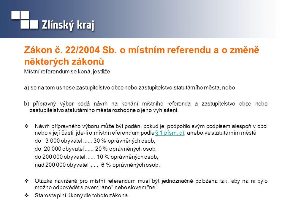 Zákon č. 22/2004 Sb. o místním referendu a o změně některých zákonů Místní referendum se koná, jestliže a) se na tom usnese zastupitelstvo obce nebo z
