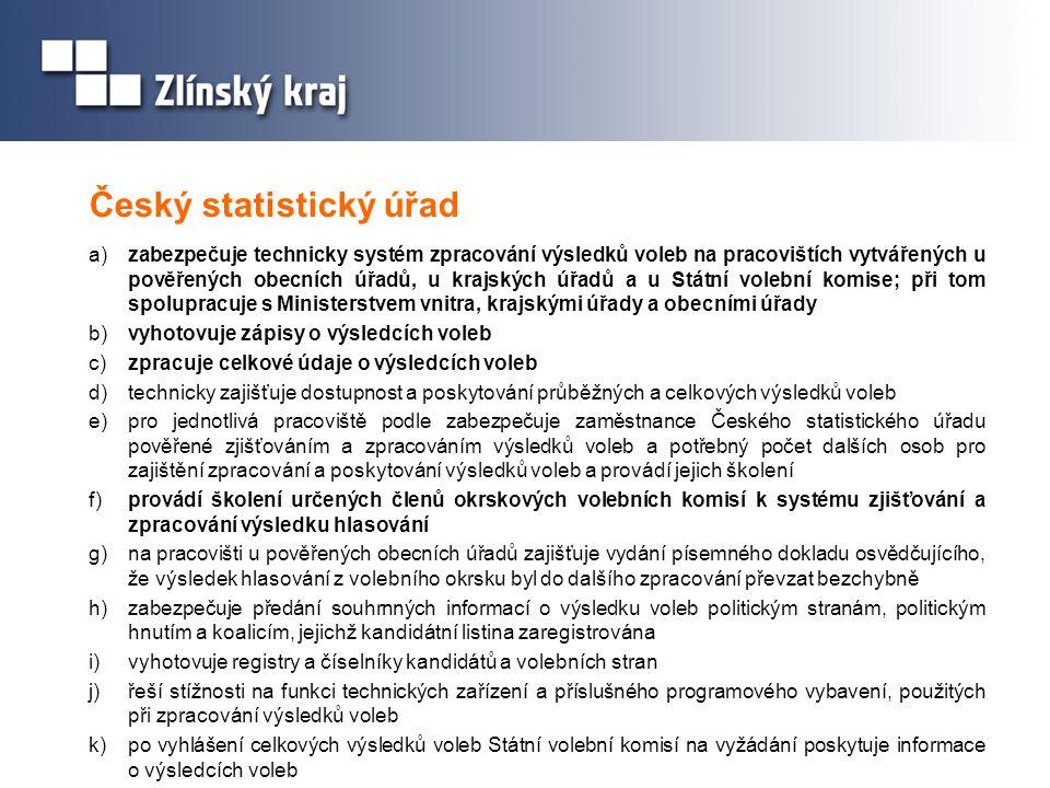 Český statistický úřad a) zabezpečuje technicky systém zpracování výsledků voleb na pracovištích vytvářených u pověřených obecních úřadů, u krajských