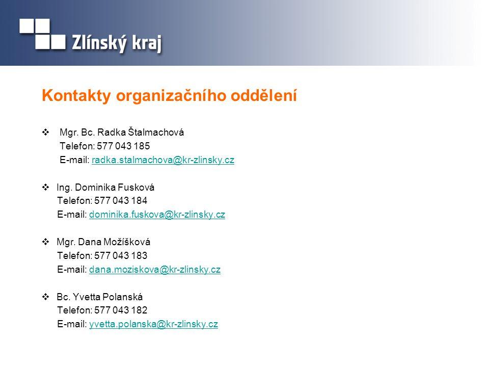 Kontakty organizačního oddělení  Mgr. Bc. Radka Štalmachová Telefon: 577 043 185 E-mail: radka.stalmachova@kr-zlinsky.czradka.stalmachova@kr-zlinsky.