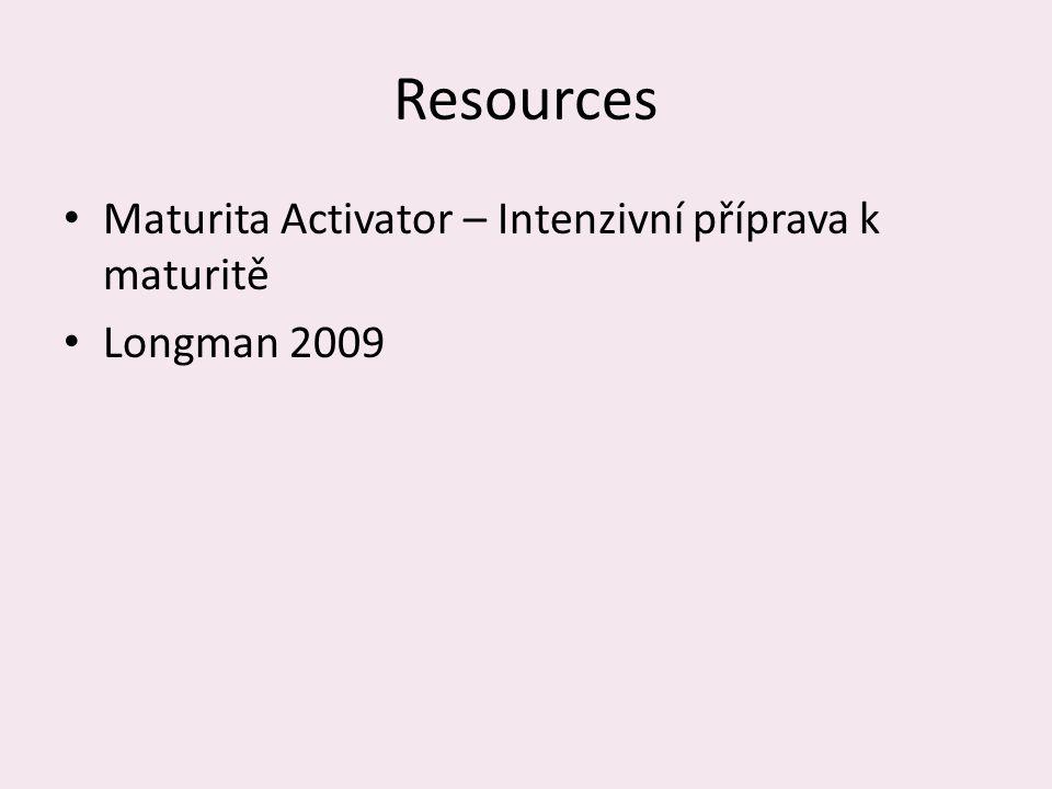 Resources Maturita Activator – Intenzivní příprava k maturitě Longman 2009