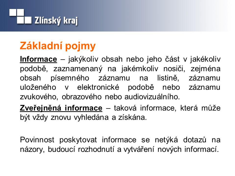 Základní pojmy Informace – jakýkoliv obsah nebo jeho část v jakékoliv podobě, zaznamenaný na jakémkoliv nosiči, zejména obsah písemného záznamu na lis