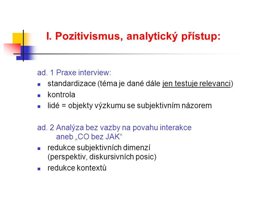 I. Pozitivismus, analytický přístup: ad. 1 Praxe interview: standardizace (téma je dané dále jen testuje relevanci) kontrola lidé = objekty výzkumu se