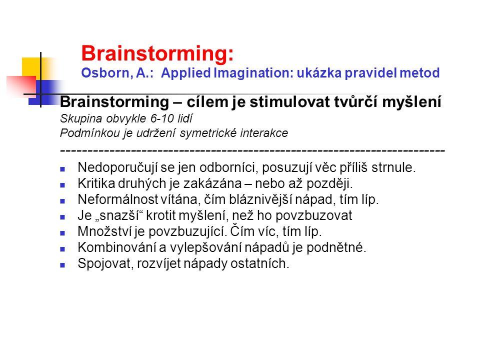 Brainstorming: Osborn, A.: Applied Imagination: ukázka pravidel metod Brainstorming – cílem je stimulovat tvůrčí myšlení Skupina obvykle 6-10 lidí Pod