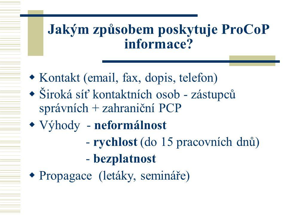Jakým způsobem poskytuje ProCoP informace.