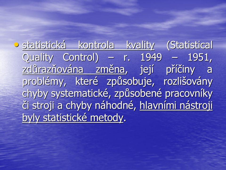 statistická kontrola kvality (Statistical Quality Control) – r. 1949 – 1951, zdůrazňována změna, její příčiny a problémy, které způsobuje, rozlišovány