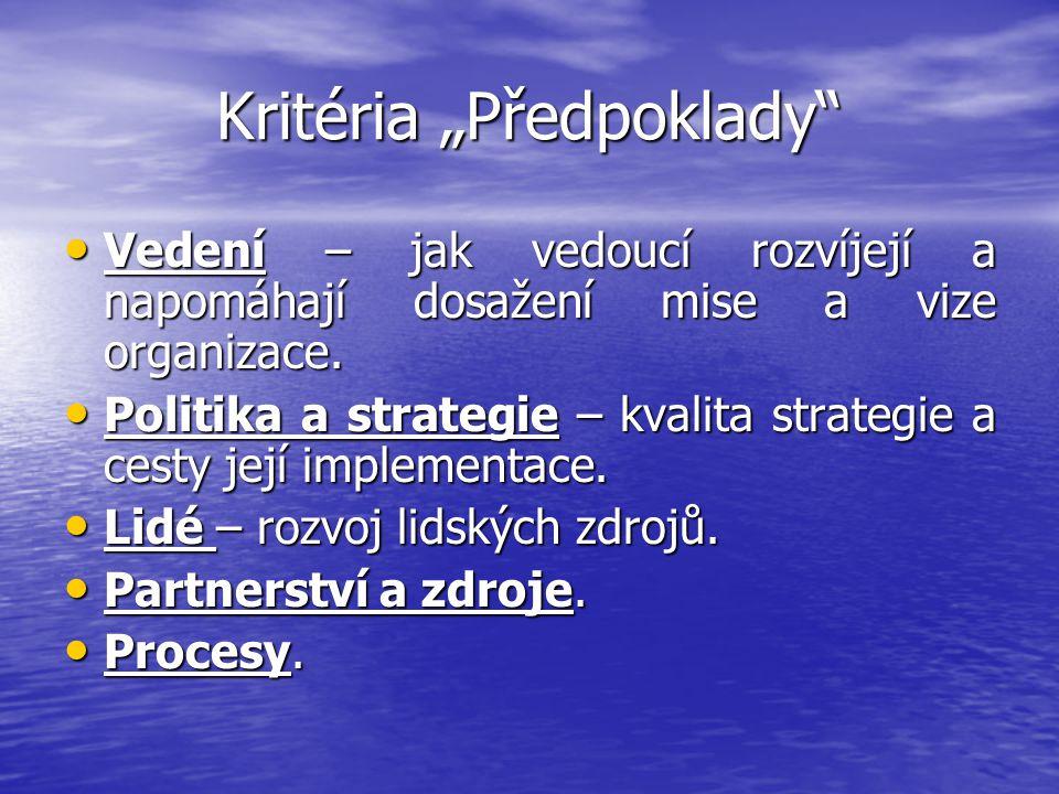 """Kritéria """"Předpoklady"""" Vedení – jak vedoucí rozvíjejí a napomáhají dosažení mise a vize organizace. Vedení – jak vedoucí rozvíjejí a napomáhají dosaže"""