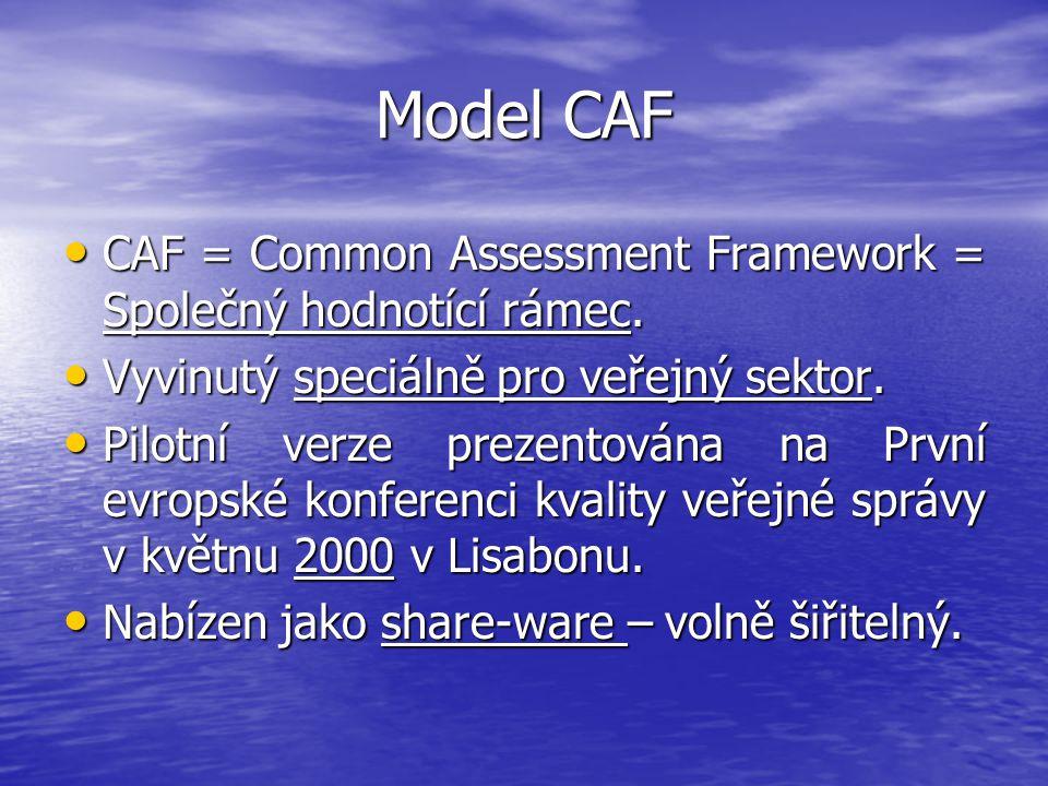 CAF = Common Assessment Framework = Společný hodnotící rámec. CAF = Common Assessment Framework = Společný hodnotící rámec. Vyvinutý speciálně pro veř
