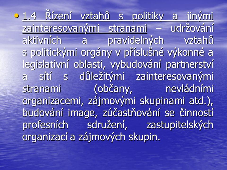 1.4 Řízení vztahů s politiky a jinými zainteresovanými stranami – udržování aktivních a pravidelných vztahů s politickými orgány v příslušné výkonné a