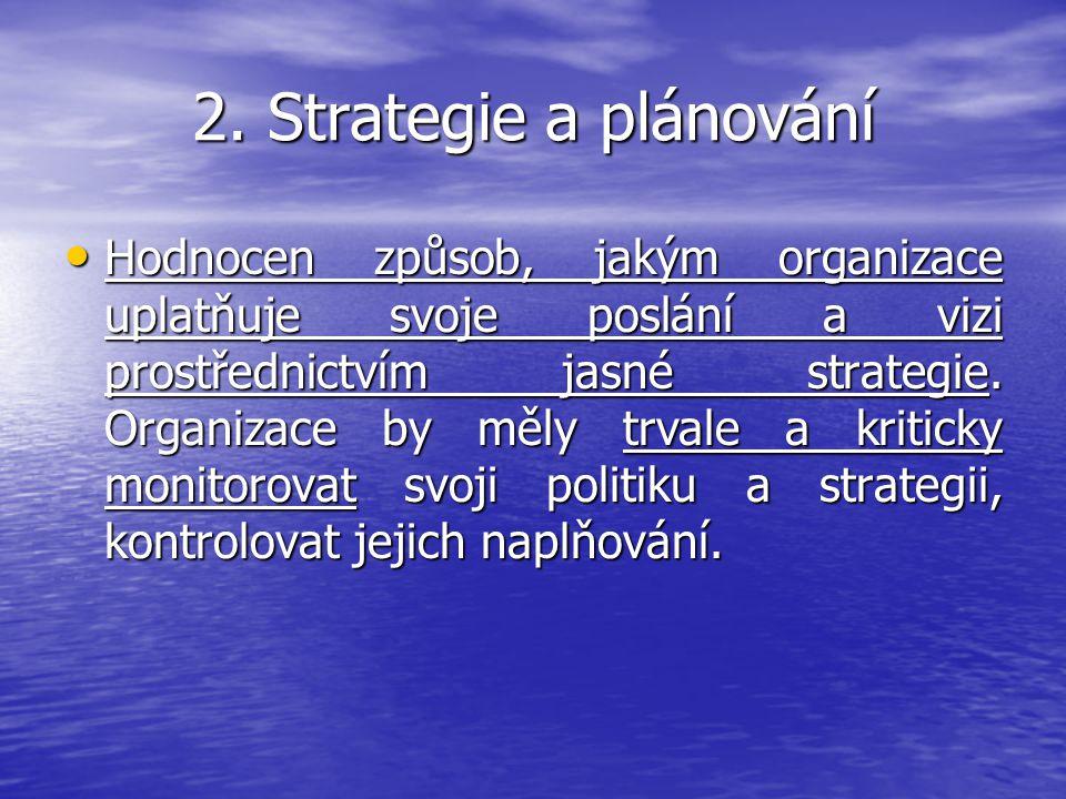 2. Strategie a plánování Hodnocen způsob, jakým organizace uplatňuje svoje poslání a vizi prostřednictvím jasné strategie. Organizace by měly trvale a