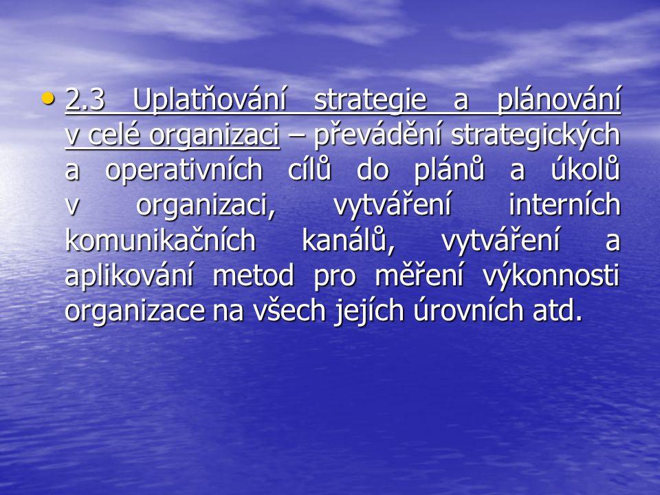 2.3 Uplatňování strategie a plánování v celé organizaci – převádění strategických a operativních cílů do plánů a úkolů v organizaci, vytváření interní