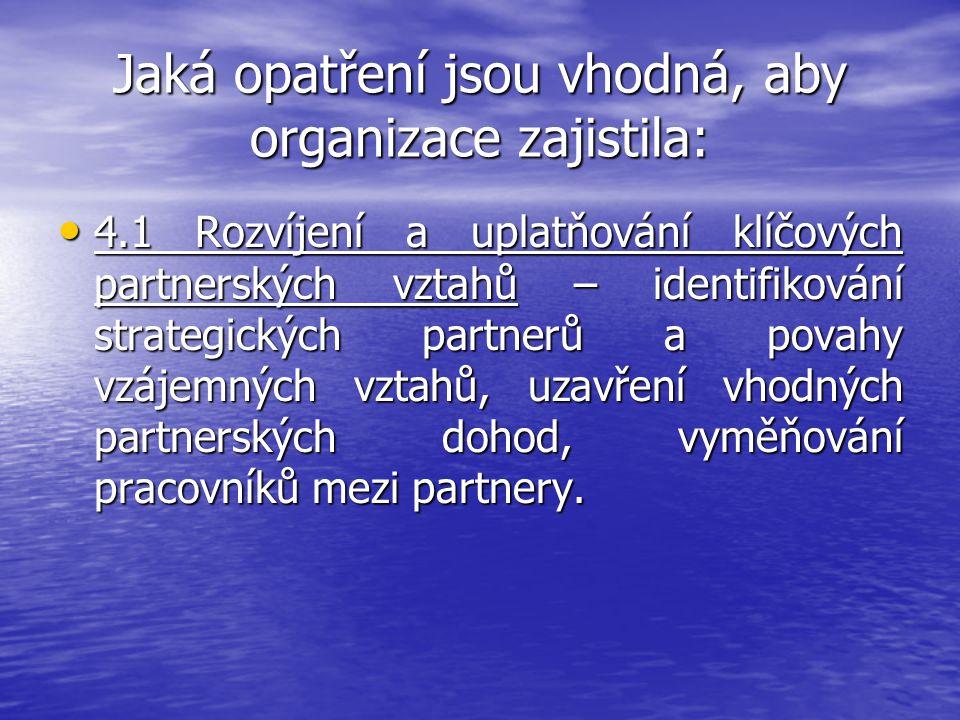 Jaká opatření jsou vhodná, aby organizace zajistila: 4.1 Rozvíjení a uplatňování klíčových partnerských vztahů – identifikování strategických partnerů
