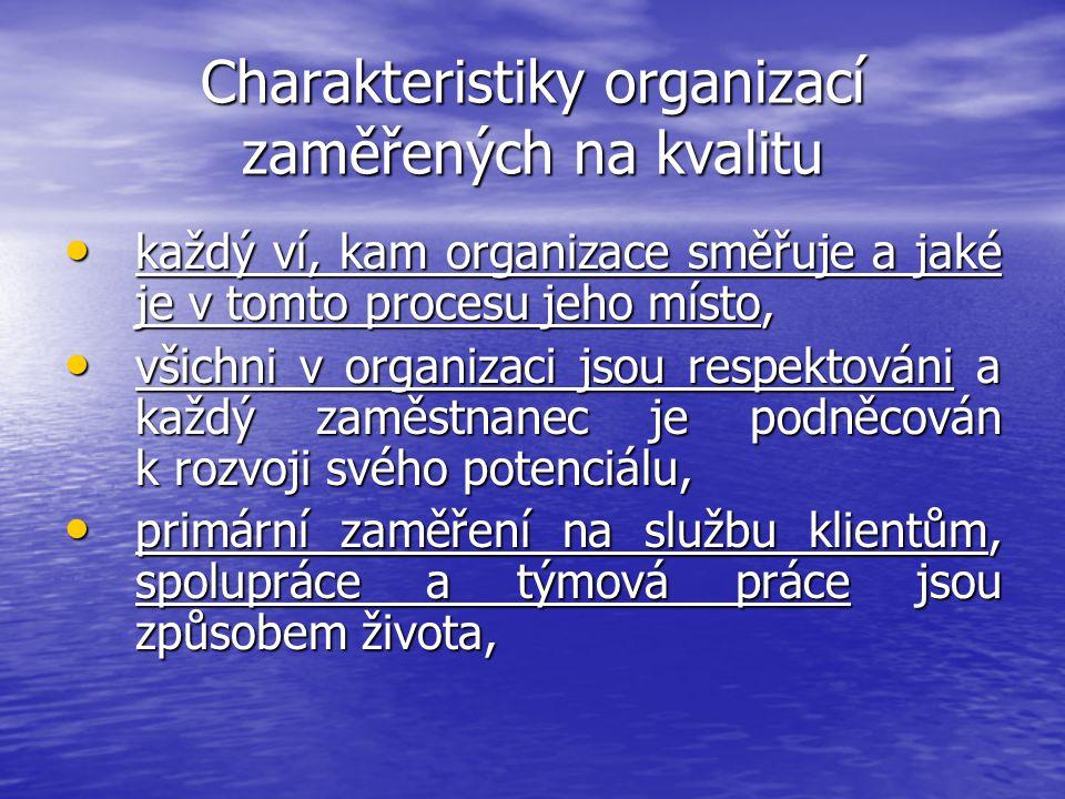 Charakteristiky organizací zaměřených na kvalitu každý ví, kam organizace směřuje a jaké je v tomto procesu jeho místo, každý ví, kam organizace směřu