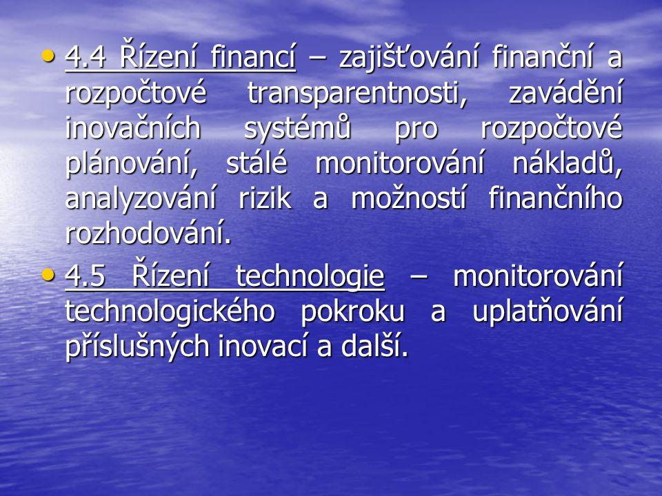 4.4 Řízení financí – zajišťování finanční a rozpočtové transparentnosti, zavádění inovačních systémů pro rozpočtové plánování, stálé monitorování nákl