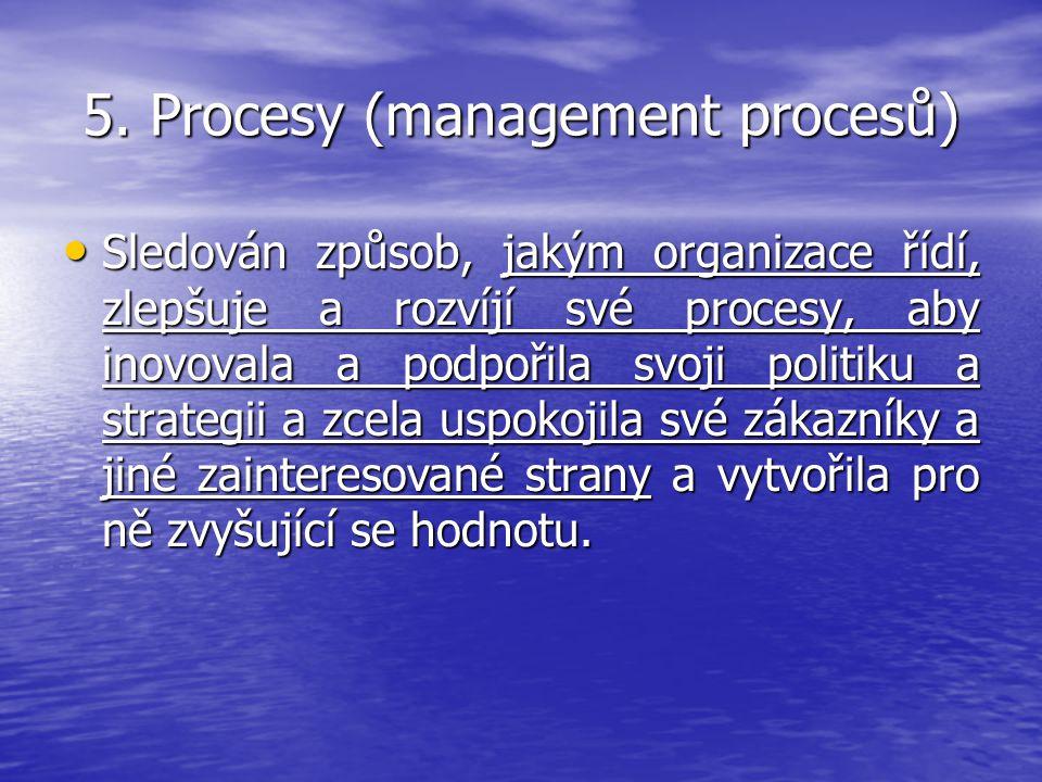 5. Procesy (management procesů) Sledován způsob, jakým organizace řídí, zlepšuje a rozvíjí své procesy, aby inovovala a podpořila svoji politiku a str