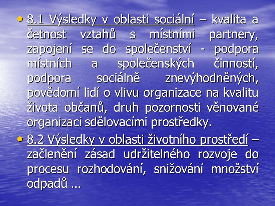 8.1 Výsledky v oblasti sociální – kvalita a četnost vztahů s místními partnery, zapojení se do společenství - podpora místních a společenských činnost