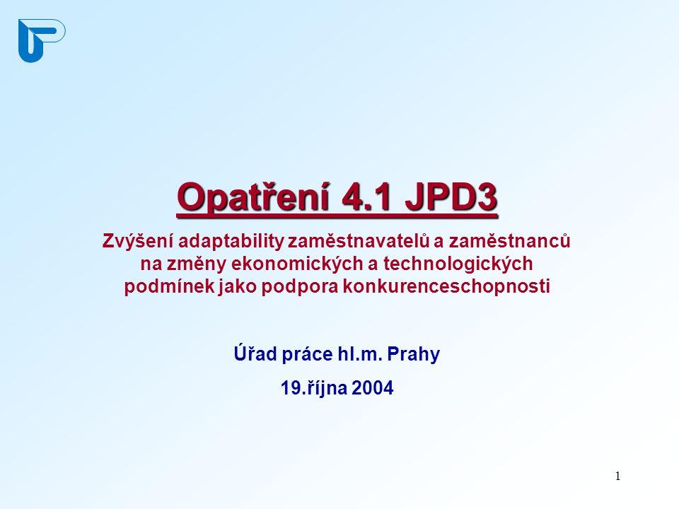 2 Opatření 4.1 JPD3 Globální cíl:   Zajištění efektivního řízení organizací a kvalifikované a flexibilní pracovní síly, která by byla zárukou vysoké a stabilní úrovně pražské zaměstnanosti a konkurenceschopnosti pražské ekonomiky