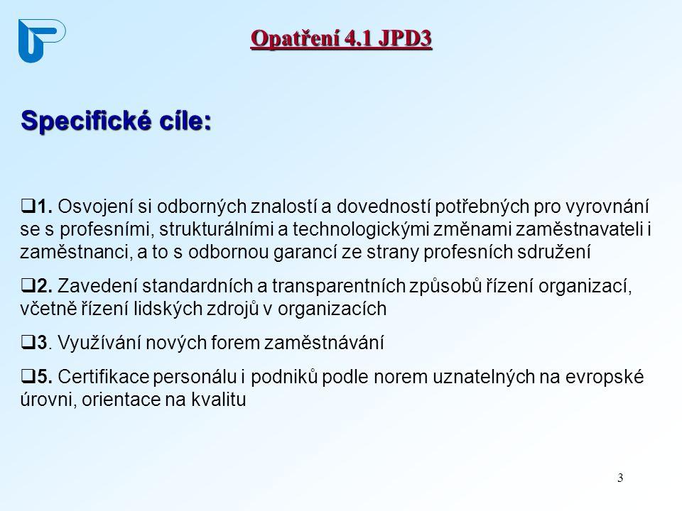 3 Opatření 4.1 JPD3 Specifické cíle:  1. Osvojení si odborných znalostí a dovedností potřebných pro vyrovnání se s profesními, strukturálními a techn