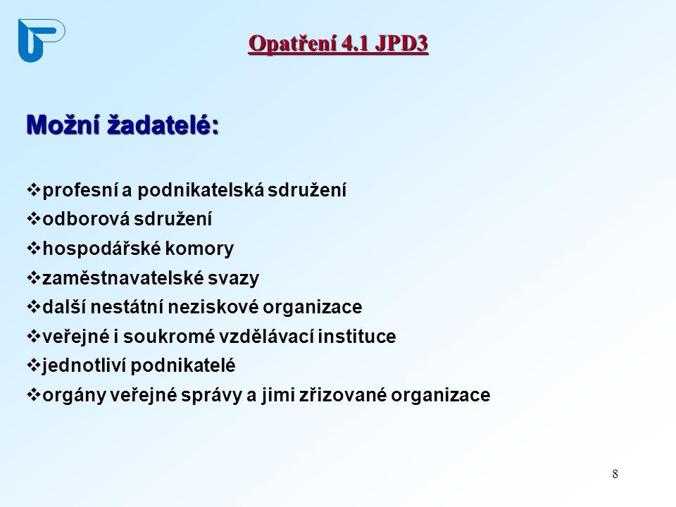 8 Opatření 4.1 JPD3 Možní žadatelé:  profesní a podnikatelská sdružení  odborová sdružení  hospodářské komory  zaměstnavatelské svazy  další nestátní neziskové organizace  veřejné i soukromé vzdělávací instituce  jednotliví podnikatelé  orgány veřejné správy a jimi zřizované organizace