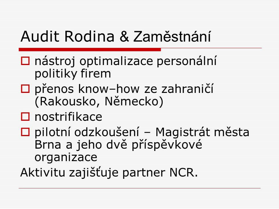 Audit Rodina & Zaměstnání  nástroj optimalizace personální politiky firem  přenos know–how ze zahraničí (Rakousko, Německo)  nostrifikace  pilotní odzkoušení – Magistrát města Brna a jeho dvě příspěvkové organizace Aktivitu zajišťuje partner NCR.