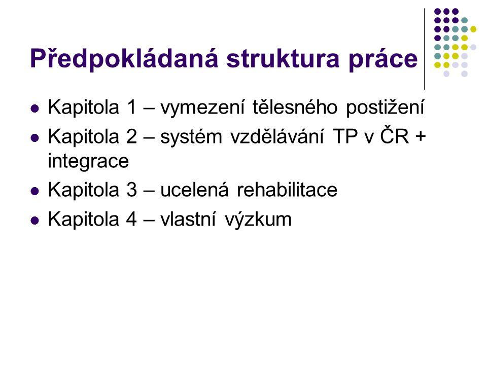 Předpokládaná struktura práce Kapitola 1 – vymezení tělesného postižení Kapitola 2 – systém vzdělávání TP v ČR + integrace Kapitola 3 – ucelená rehabilitace Kapitola 4 – vlastní výzkum