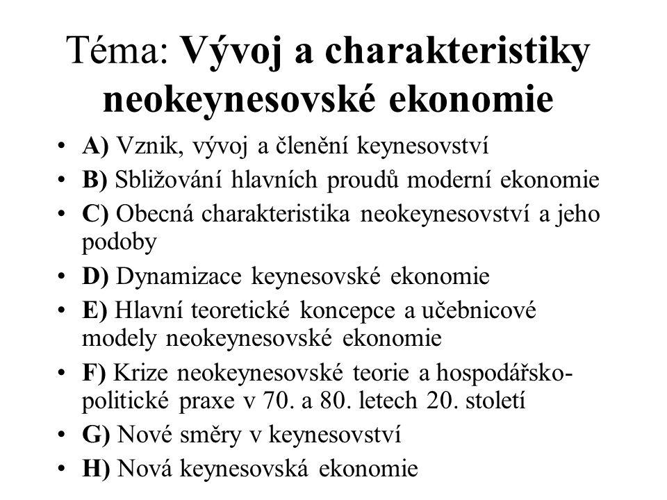 Ukázka doporučené literatury v jazyce českém a slovenském (blíže viz sylabus předmětu) : Akerlof, G.