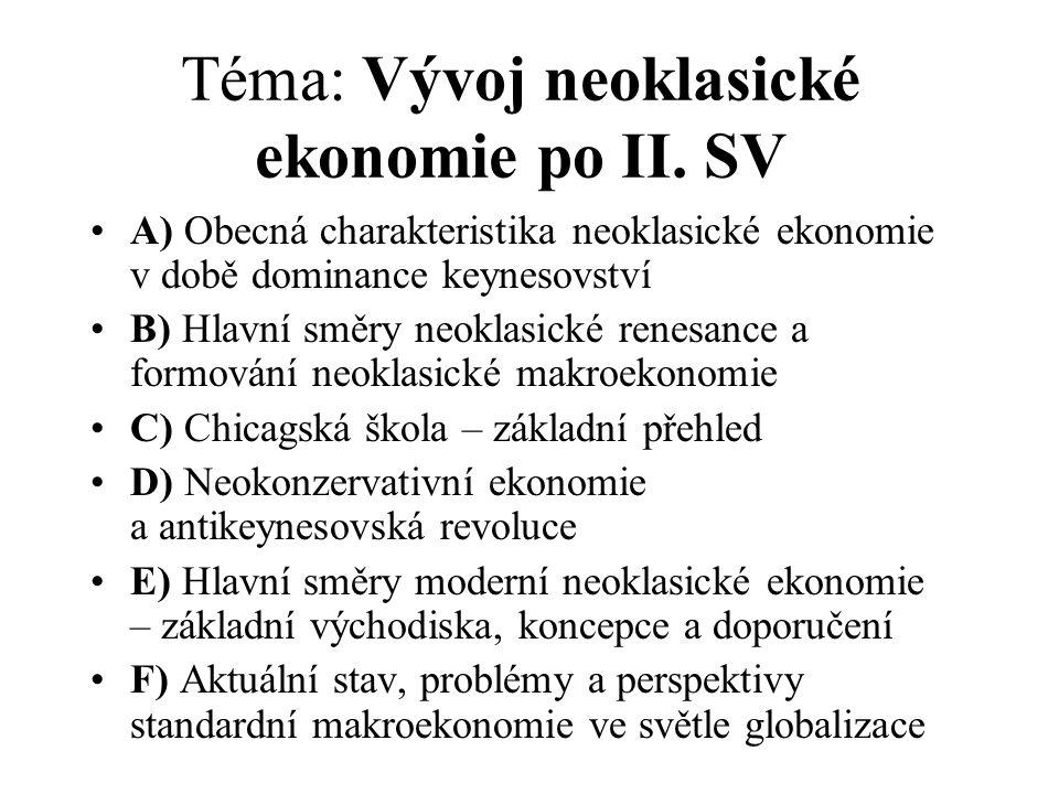 Téma: Vývoj neoklasické ekonomie po II. SV A) Obecná charakteristika neoklasické ekonomie v době dominance keynesovství B) Hlavní směry neoklasické re