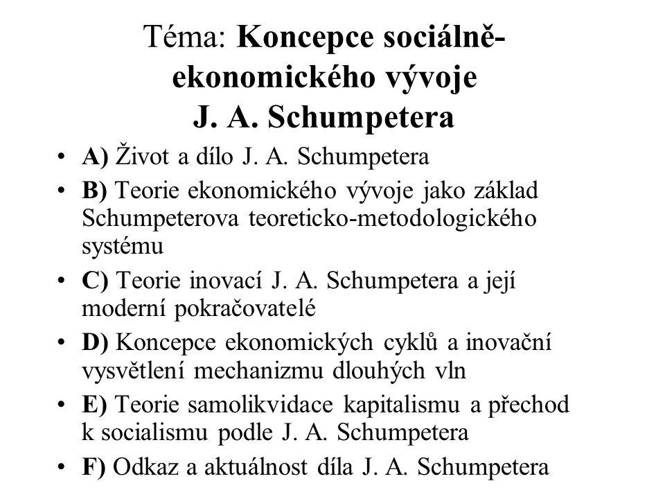 Téma: Koncepce sociálně- ekonomického vývoje J. A. Schumpetera A) Život a dílo J. A. Schumpetera B) Teorie ekonomického vývoje jako základ Schumpetero