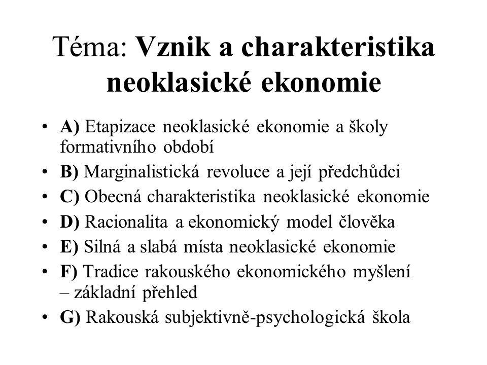 Téma: Vznik a charakteristika neoklasické ekonomie A) Etapizace neoklasické ekonomie a školy formativního období B) Marginalistická revoluce a její př