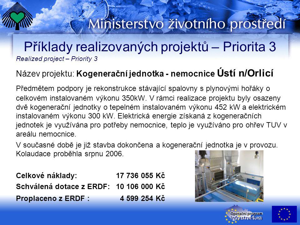 Název projektu: Kogenerační jednotka - nemocnice Ústí n/Orlicí Předmětem podpory je rekonstrukce stávající spalovny s plynovými hořáky o celkovém instalovaném výkonu 350kW.