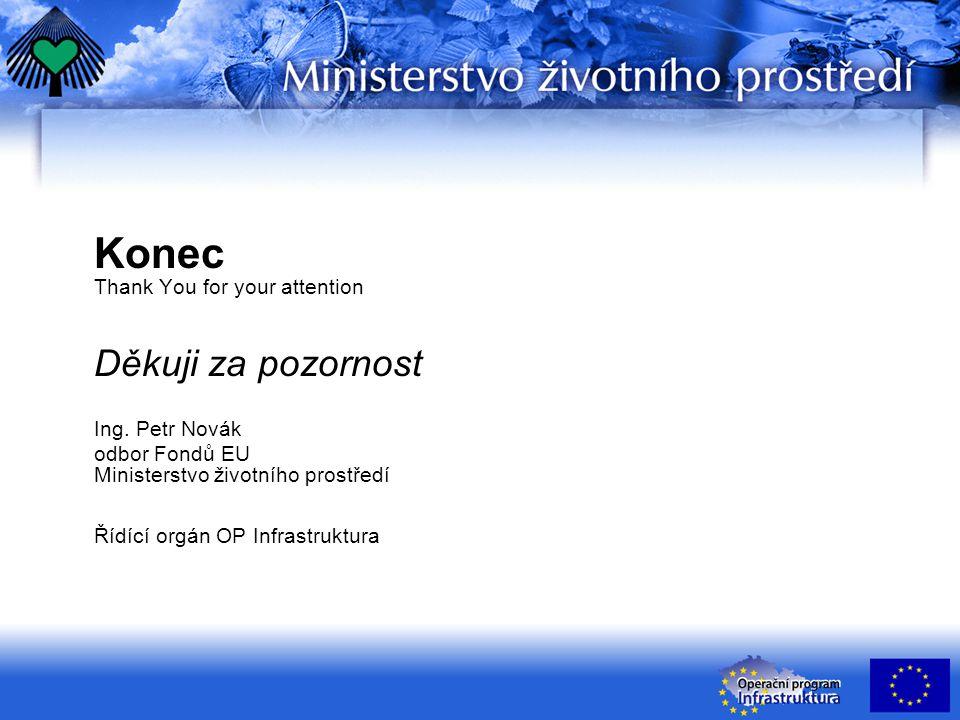 Konec Thank You for your attention Děkuji za pozornost Ing. Petr Novák odbor Fondů EU Ministerstvo životního prostředí Řídící orgán OP Infrastruktura
