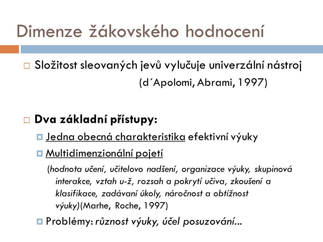 Dimenze žákovského hodnocení  Složitost sleovaných jevů vylučuje univerzální nástroj (d´Apolomi, Abrami, 1997)  Dva základní přístupy:  Jedna obecn