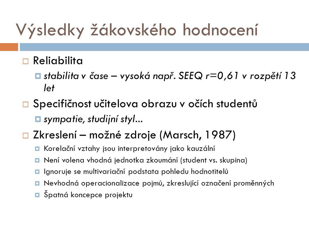 Výsledky žákovského hodnocení  Reliabilita  stabilita v čase – vysoká např. SEEQ r=0,61 v rozpětí 13 let  Specifičnost učitelova obrazu v očích stu