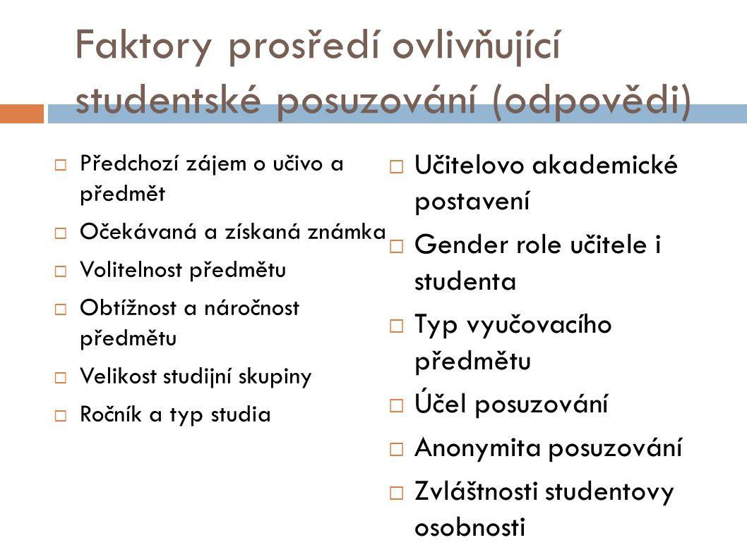 Faktory prosředí ovlivňující studentské posuzování (odpovědi)  Předchozí zájem o učivo a předmět  Očekávaná a získaná známka  Volitelnost předmětu