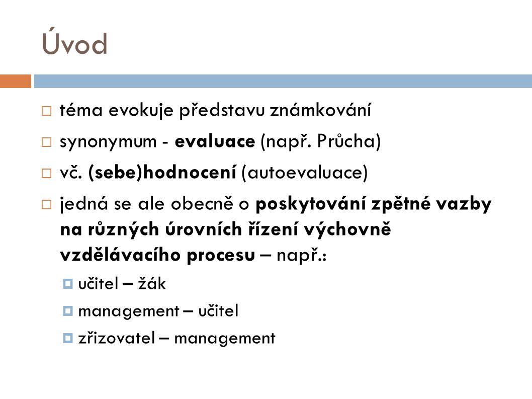 Úvod  téma evokuje představu známkování  synonymum - evaluace (např.