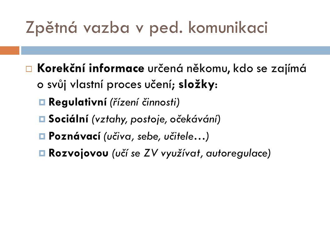 Zpětná vazba v ped. komunikaci  Korekční informace určená někomu, kdo se zajímá o svůj vlastní proces učení; složky:  Regulativní (řízení činnosti)