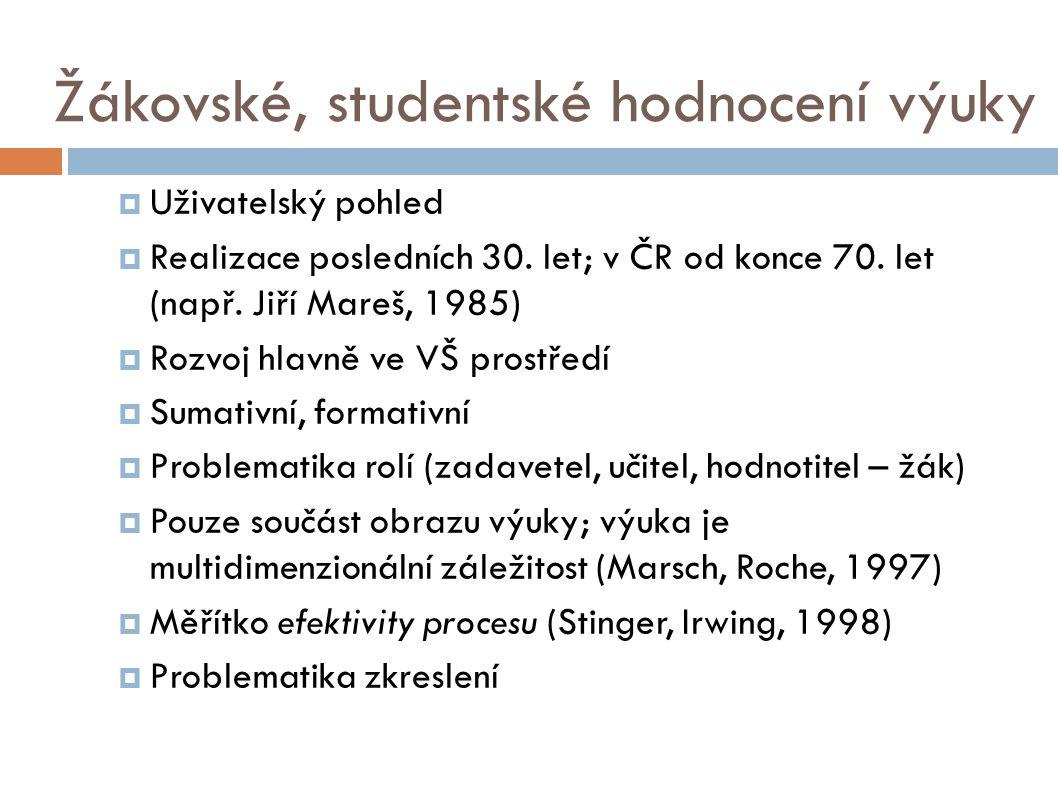 Žákovské, studentské hodnocení výuky  Uživatelský pohled  Realizace posledních 30.