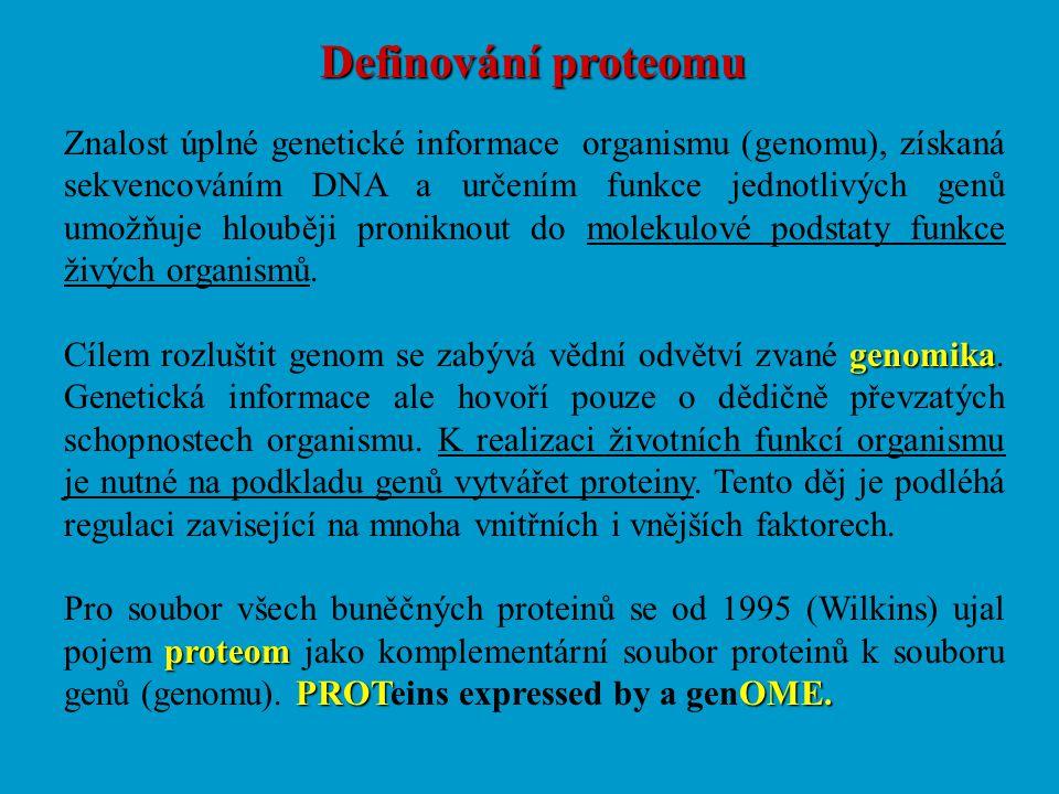 Definování proteomu Znalost úplné genetické informace organismu (genomu), získaná sekvencováním DNA a určením funkce jednotlivých genů umožňuje hloubě