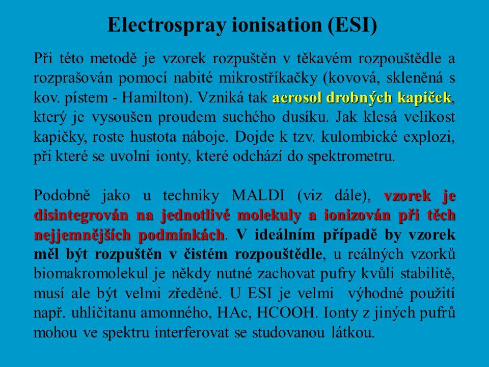 Electrospray ionisation (ESI) aerosol drobných kapiček Při této metodě je vzorek rozpuštěn v těkavém rozpouštědle a rozprašován pomocí nabité mikrostř