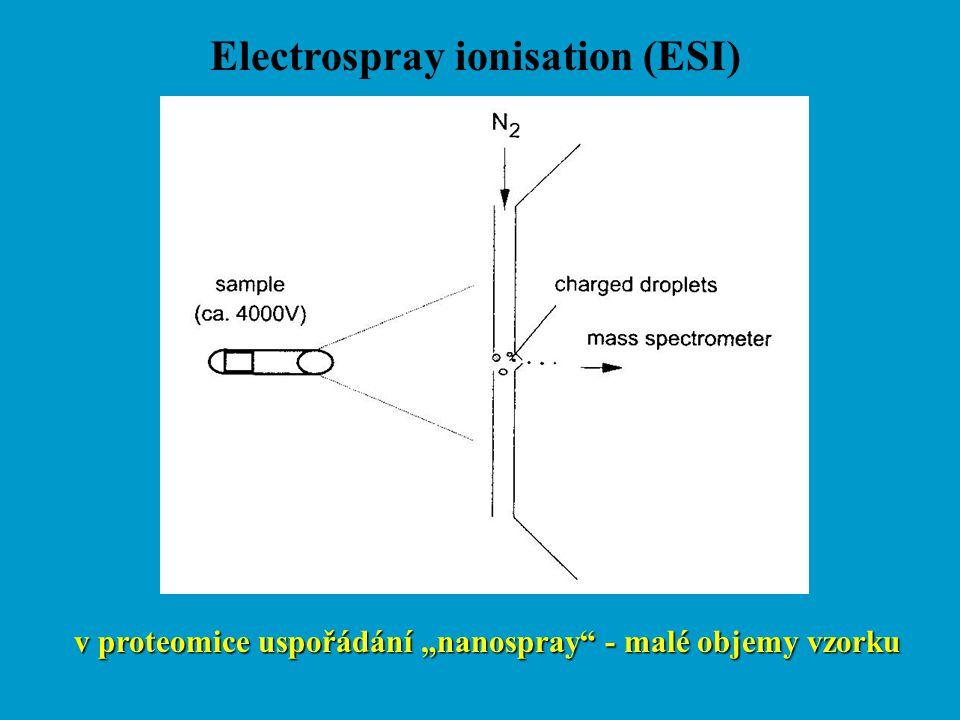 """Electrospray ionisation (ESI) v proteomice uspořádání """"nanospray"""" - malé objemy vzorku"""