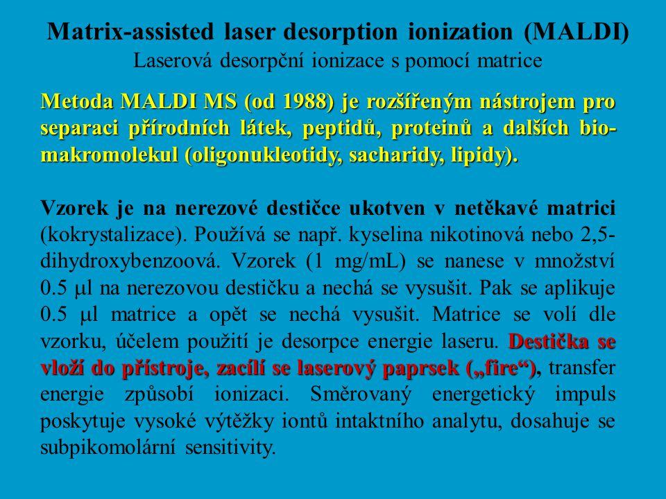 Matrix-assisted laser desorption ionization (MALDI) Laserová desorpční ionizace s pomocí matrice Metoda MALDI MS (od 1988) je rozšířeným nástrojem pro
