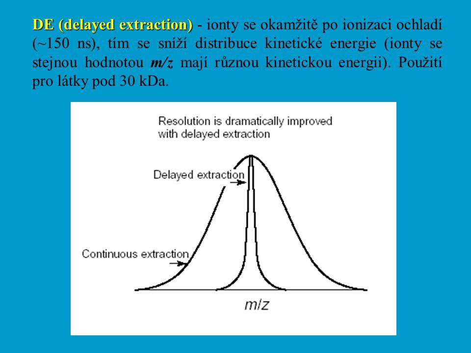 DE (delayed extraction) DE (delayed extraction) - ionty se okamžitě po ionizaci ochladí (~150 ns), tím se sníží distribuce kinetické energie (ionty se