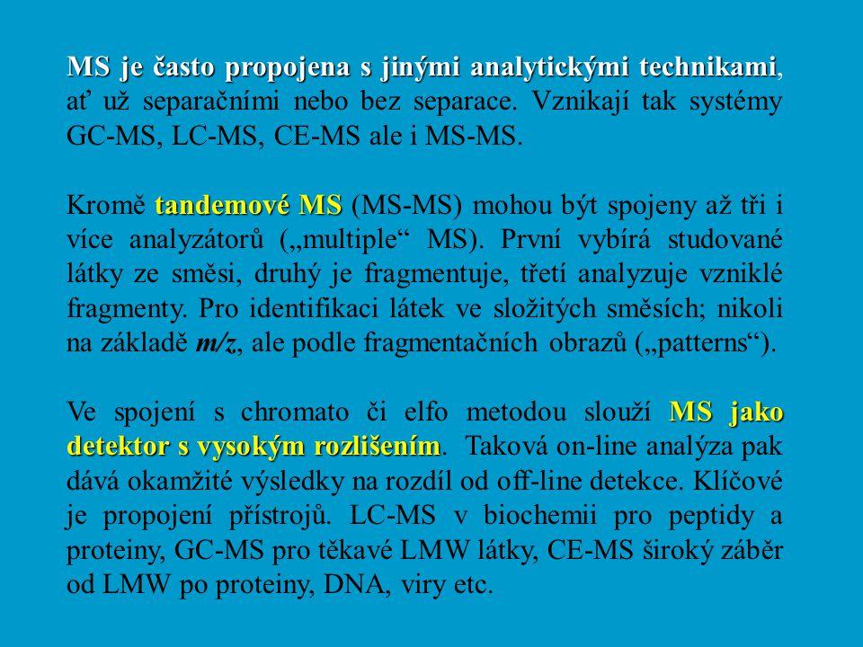 MS je často propojena s jinými analytickými technikami MS je často propojena s jinými analytickými technikami, ať už separačními nebo bez separace. Vz
