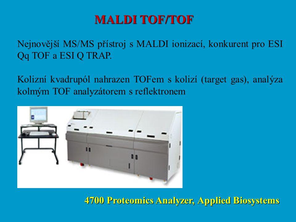 MALDI TOF/TOF Nejnovější MS/MS přístroj s MALDI ionizací, konkurent pro ESI Qq TOF a ESI Q TRAP. Kolizní kvadrupól nahrazen TOFem s kolizí (target gas
