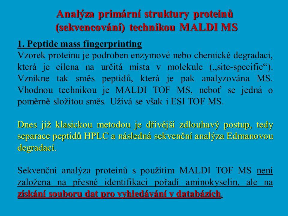 Analýza primární struktury proteinů (sekvencování) technikou MALDI MS 1. Peptide mass fingerprinting Vzorek proteinu je podroben enzymové nebo chemick