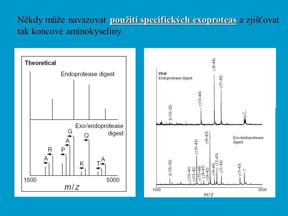 použití specifických exoproteas Někdy může navazovat použití specifických exoproteas a zjišťovat tak koncové aminokyseliny.