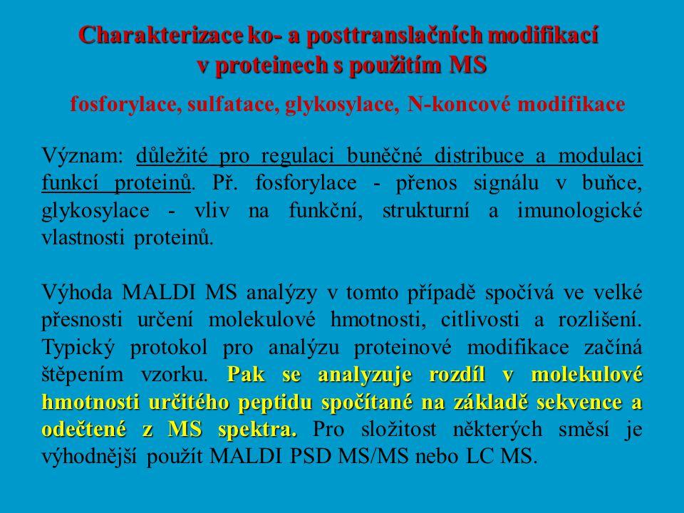 Charakterizace ko- a posttranslačních modifikací v proteinech s použitím MS fosforylace, sulfatace, glykosylace, N-koncové modifikace Význam: důležité