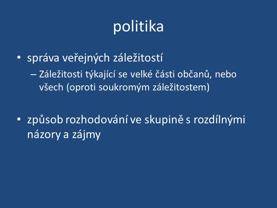 politika správa veřejných záležitostí – Záležitosti týkající se velké části občanů, nebo všech (oproti soukromým záležitostem) způsob rozhodování ve skupině s rozdílnými názory a zájmy