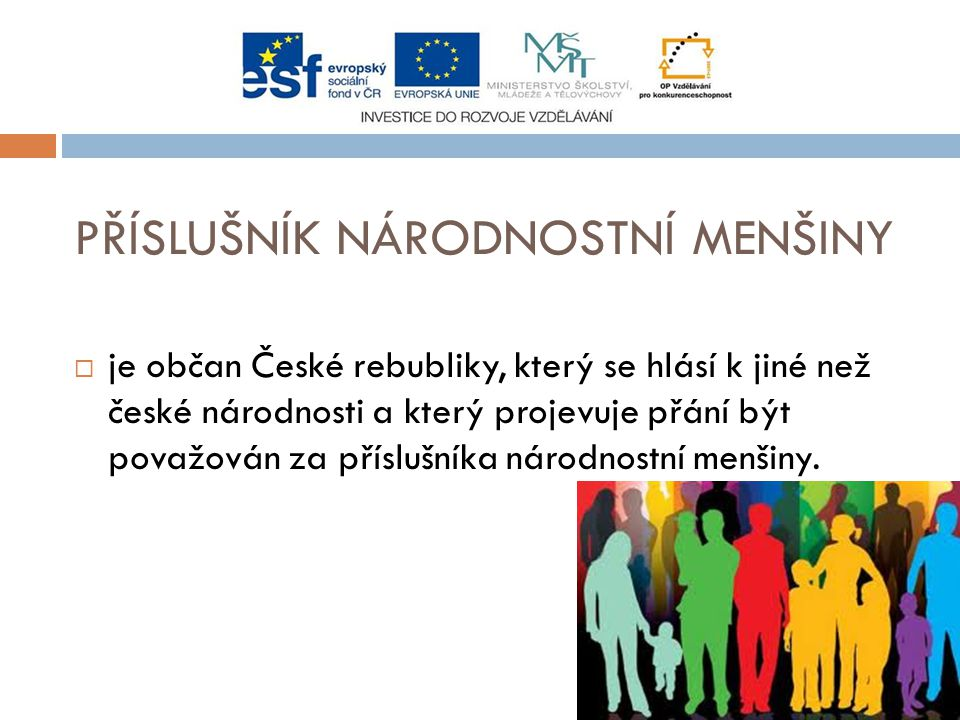 PŘÍSLUŠNÍK NÁRODNOSTNÍ MENŠINY  je občan České rebubliky, který se hlásí k jiné než české národnosti a který projevuje přání být považován za příslušníka národnostní menšiny.