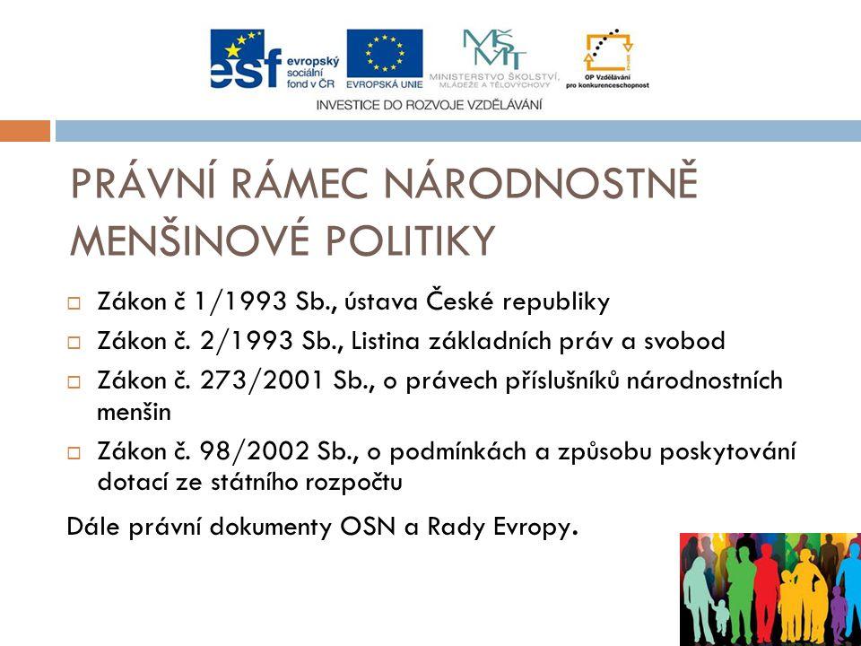PRÁVNÍ RÁMEC NÁRODNOSTNĚ MENŠINOVÉ POLITIKY  Zákon č 1/1993 Sb., ústava České republiky  Zákon č.